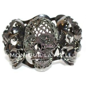 Jewelry - Black Gun Metal Color 3 Skull Head Bracket Cuff
